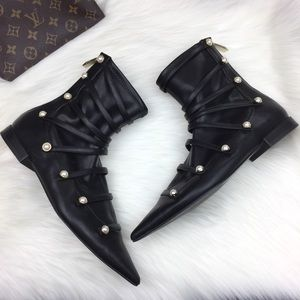 Zara Leather Pearl Pointed Toe Ankle Boots.